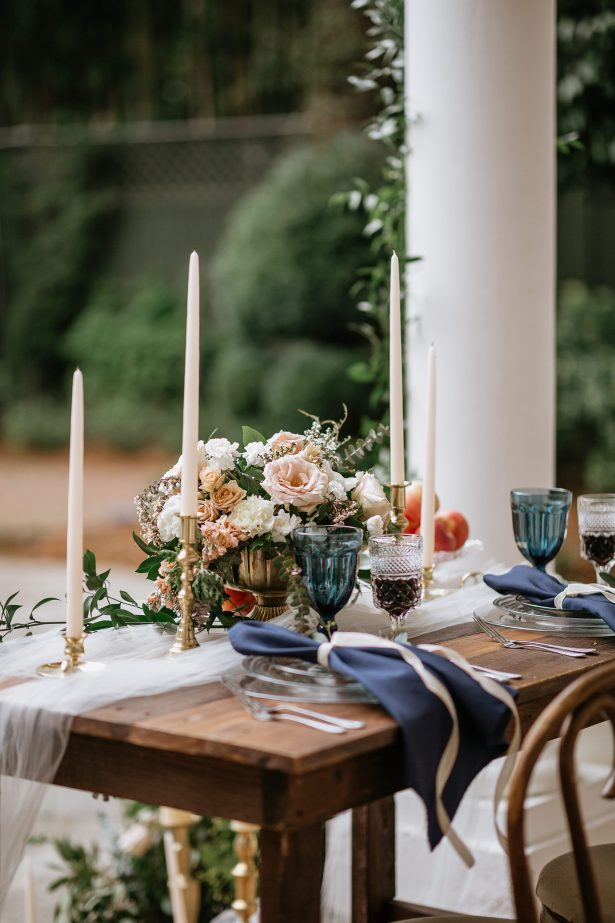 Blush and blue Long wood wedding tablescape - Amanda Meg Photography