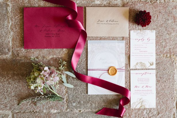 Gold and Burgundy Wedding Details for an Elegant Elopement in Tuscany