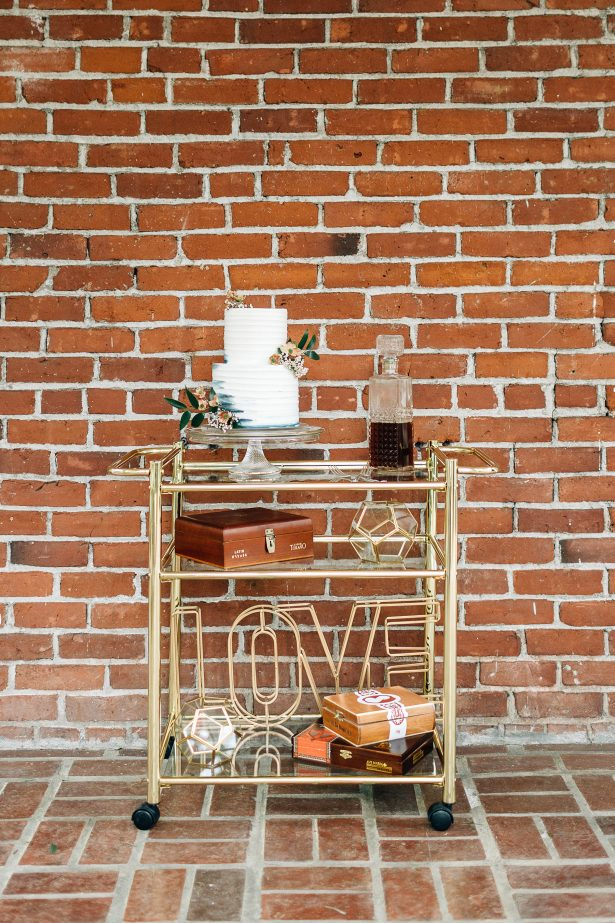 Wedding bar cart and cake table - Amanda Meg Photography
