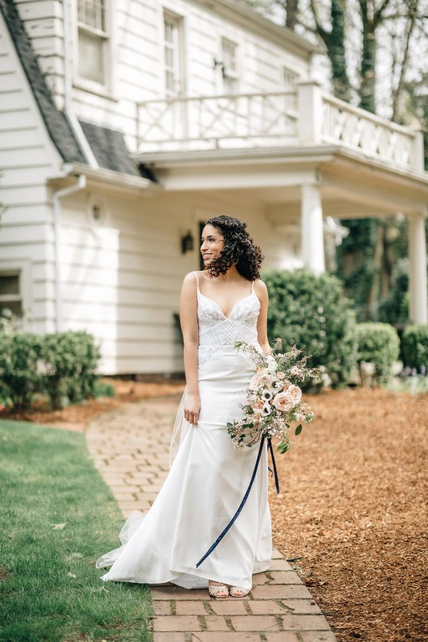 Sophisticated Bride with simple sheath wedding dress - Amanda Meg Photography