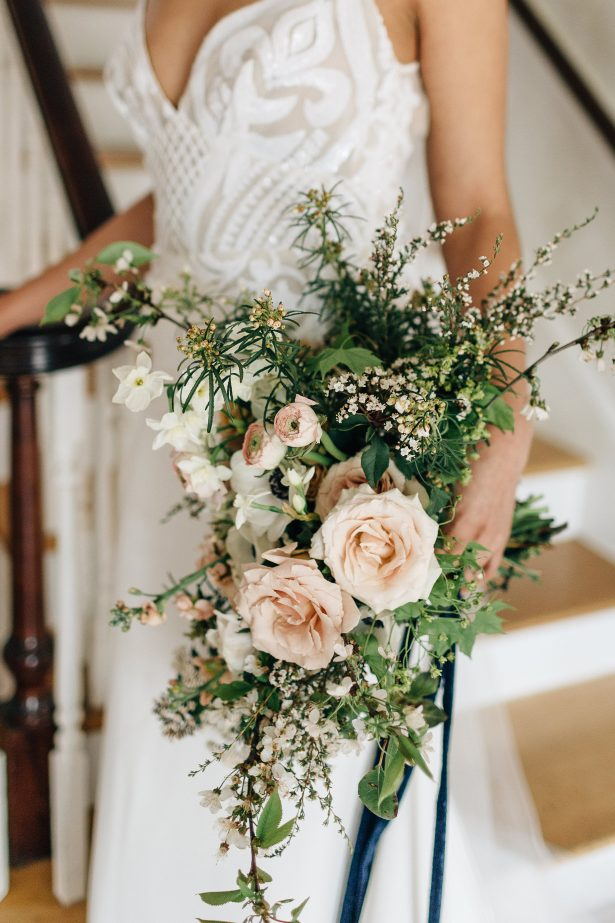 Cascading wedding bouquet with garden roses- Amanda Meg Photography
