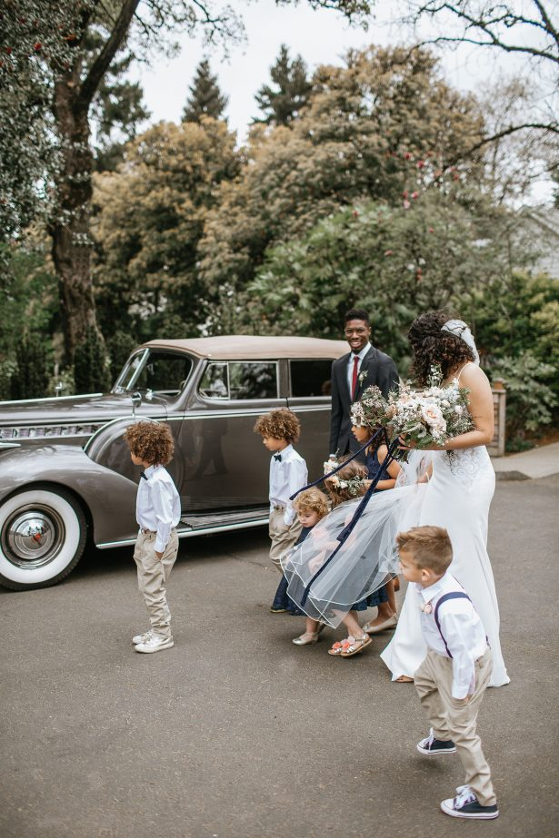 Wedding party photo with ring bearers and flower girls - Amanda Meg Photography