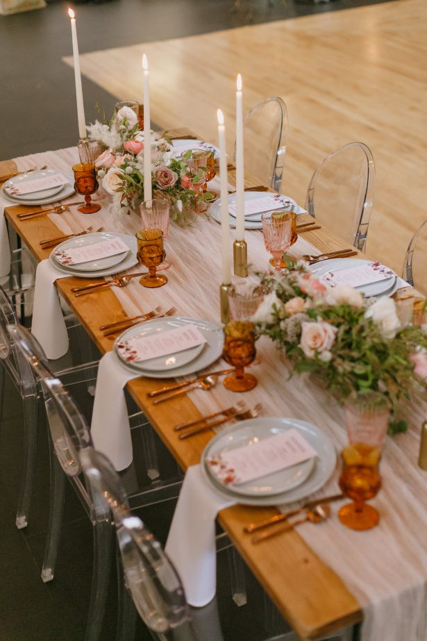 Fall Wedding tablescape with modrn chairs - Andrea Zajonc Photography