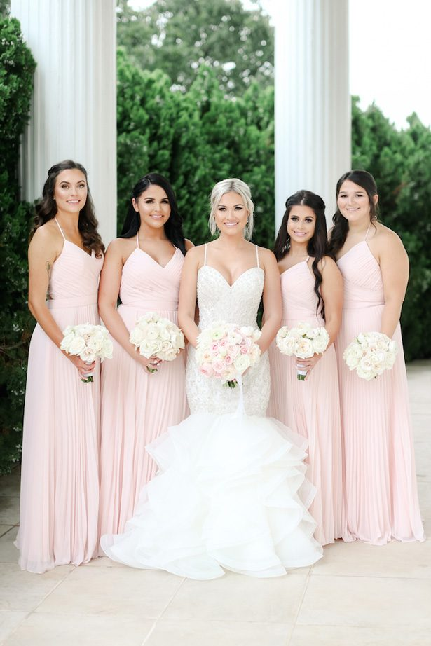 Long blush bridesmaid dresses - Photo: Krystle Akin
