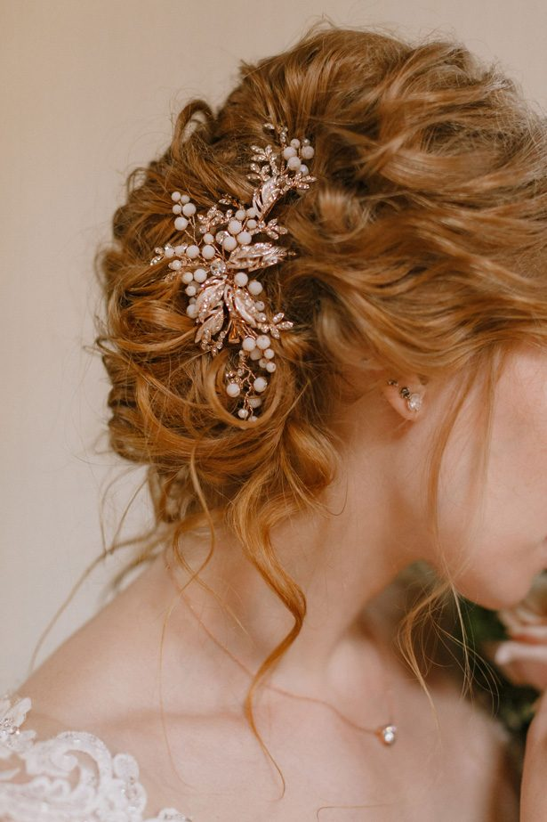 Wedding updo and hair piece - Andrea Zajonc Photography