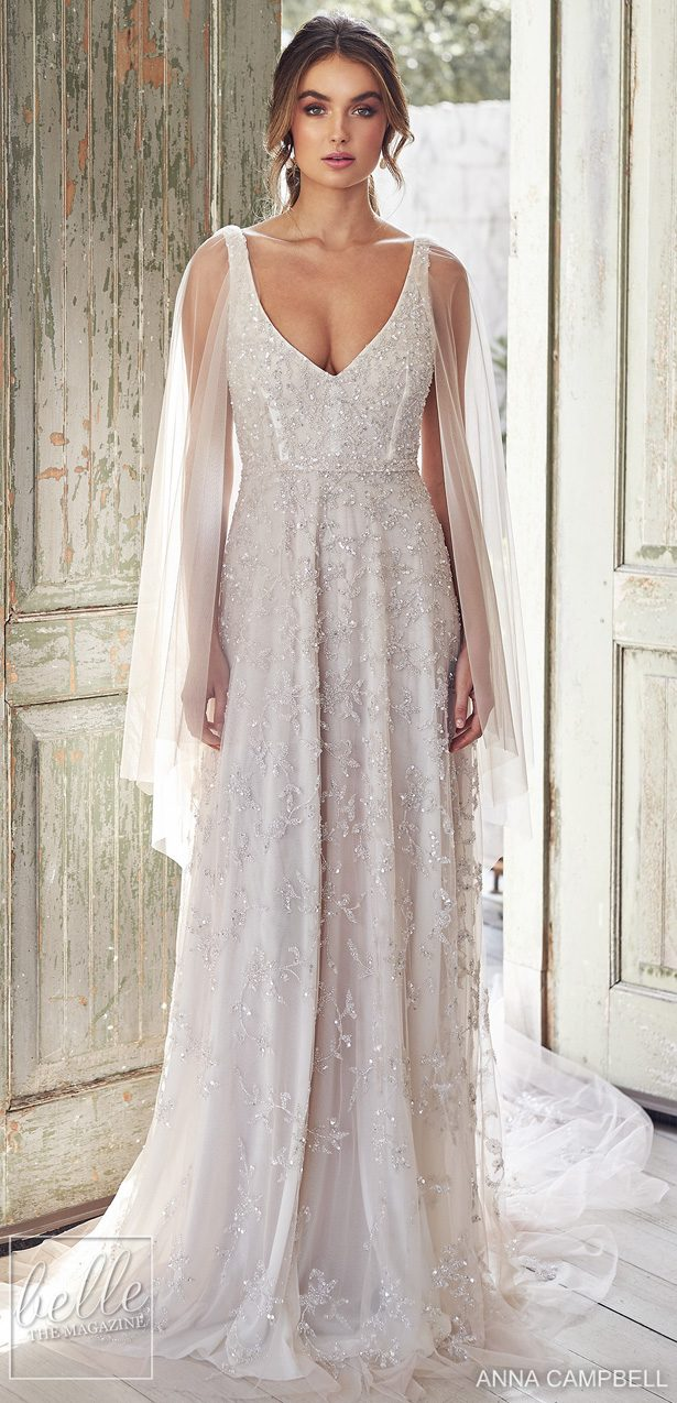 Anna Campbell 2020 Wedding Dress Lumiére Bridal Collection - Eden Empress with Draped Sleeves