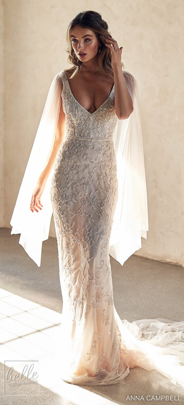 Anna Campbell 2020 Wedding Dress Lumiére Bridal Collection - Eden Fitted with Draped Sleeves