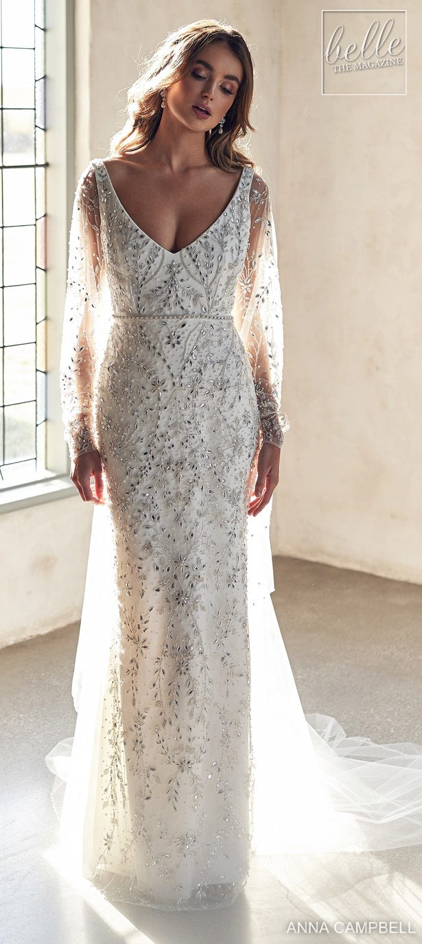 Anna Campbell 2020 Wedding Dress Lumiére Bridal Collection - Indigo Fitted with Bishop Sleeve