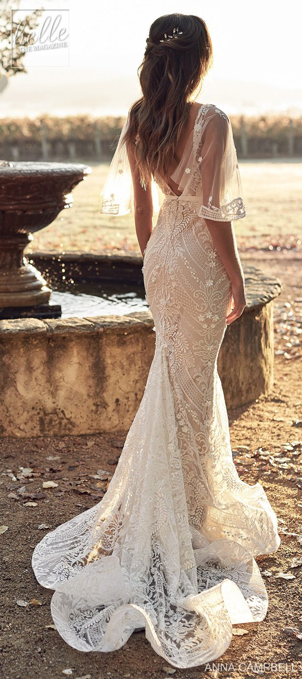 Anna Campbell 2020 Wedding Dress Lumiére Bridal Collection - Lexi Trumpet with Draped Sleevees