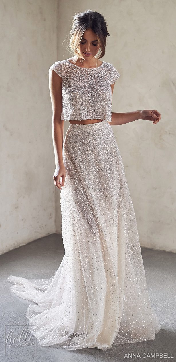 Anna Campbell 2020 Wedding Dress Lumiére Bridal Collection - Meadow Topper with Riley Separate Skirt