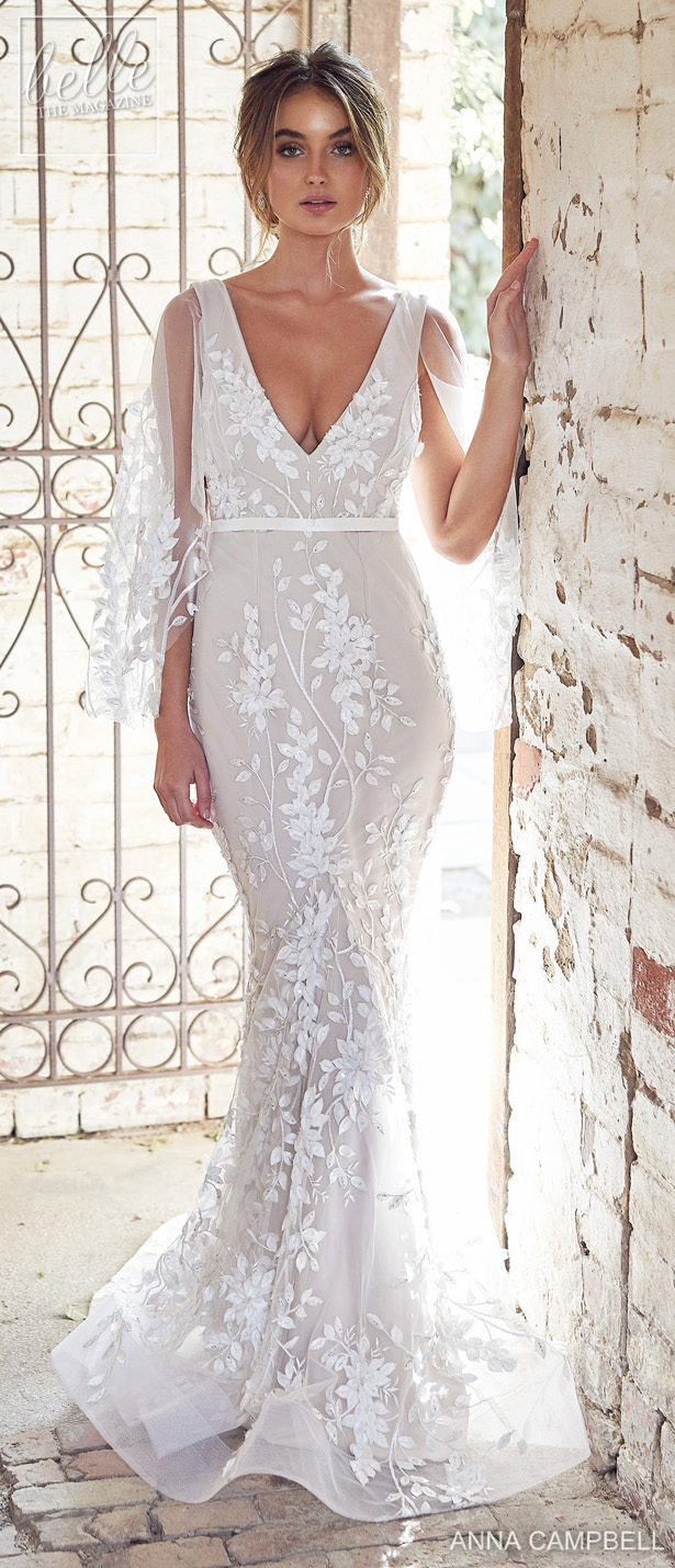 Anna Campbell 2020 Wedding Dress Lumiére Bridal Collection - Willow Trumpet with Draped Sleeves