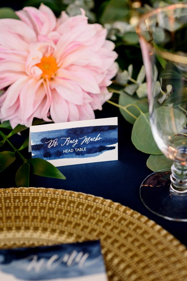 Blue watercolor wedding escort card - Jenny DeMarco Photography