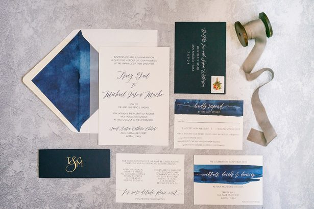 Blue wedding invitations - Jenny DeMarco Photography