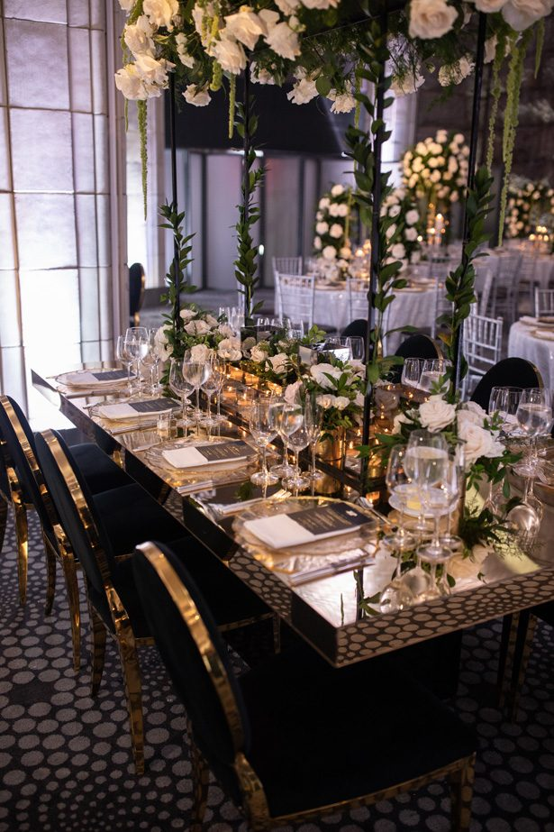 Gold and black wedding tablescape- Rafal Ostrowski Photography