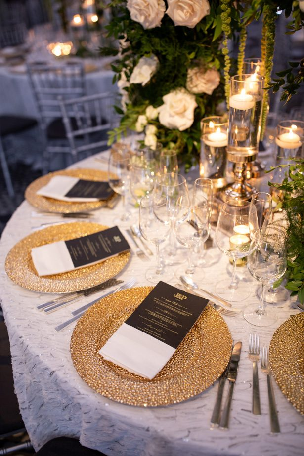 Gold wedding place settings- Rafal Ostrowski Photography