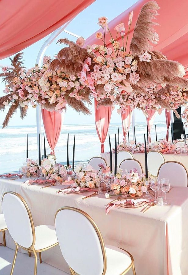 Pampas grass pink wedding tablescape - Photography NukiA Studio