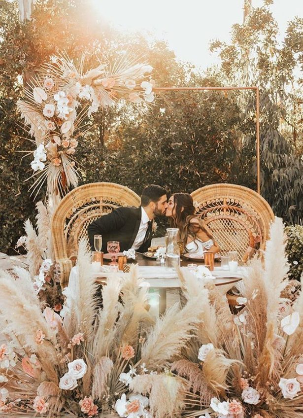 Pampas grass wedding decor with sweetheart table - Brogen Jessup Wedding Photo