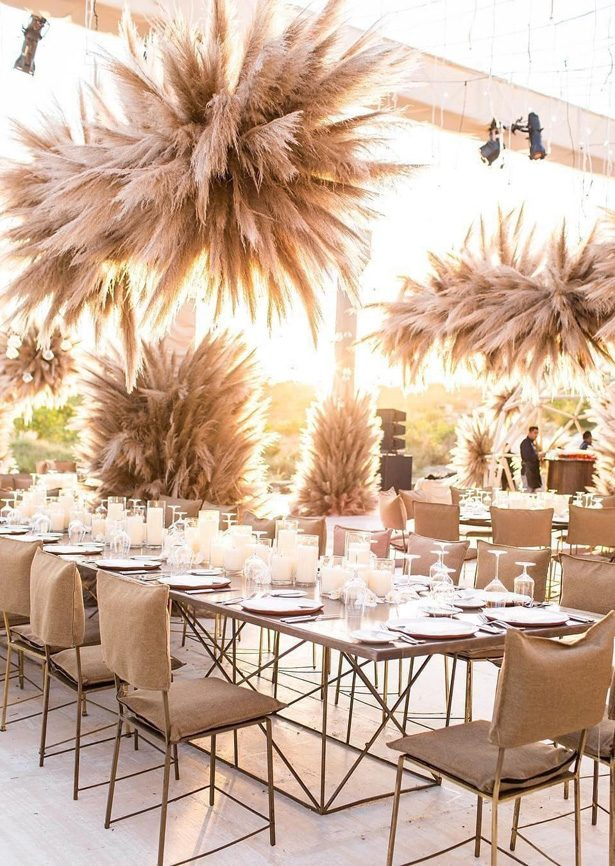 Pampas grass wedding reception decor