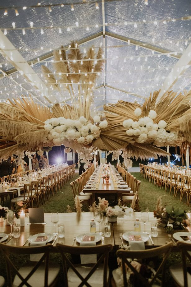 Pampas grass wedding reception decor - Photography: Shane Shepherd