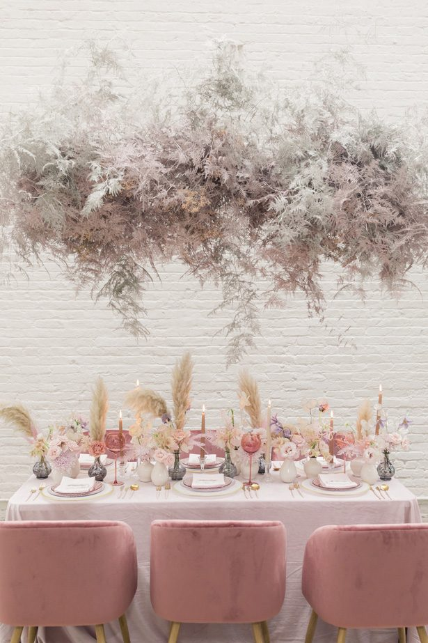 Luxury Pink wedding tablescape with pampas grass - Chris & Becca Photography