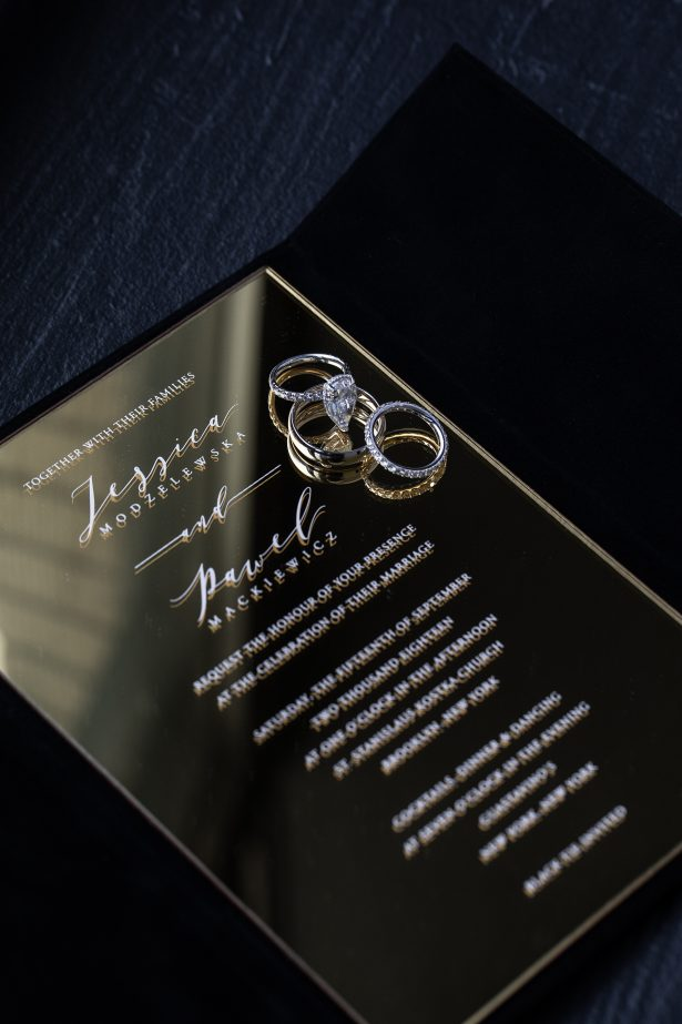 Mirror luxury wedding invitations and wedding rings - Rafal Ostrowski Photography