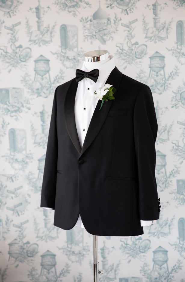 Black and white wedding tuxedo for groom - Rafal Ostrowski Photography