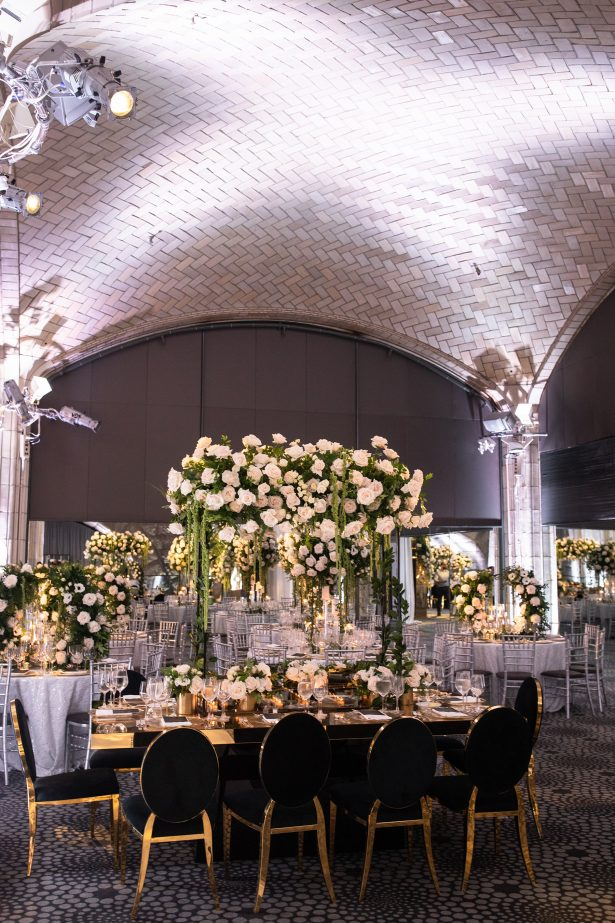 Luxury black and white wedding reception decor - Rafal Ostrowski Photography