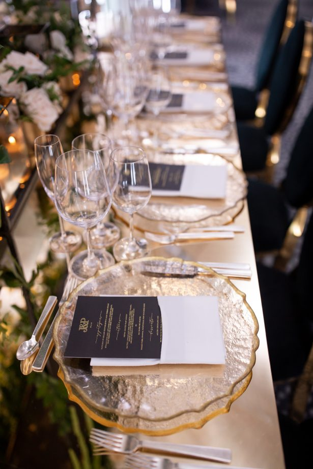 Luxury long wedding tablescape with gold place settings - Rafal Ostrowski Photography