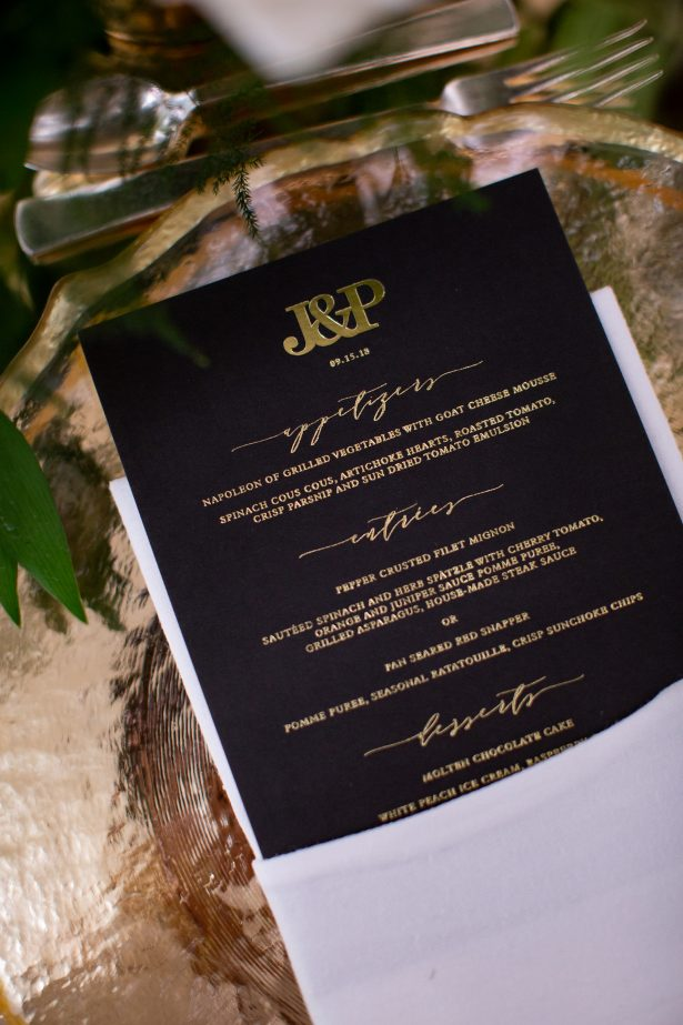Luxury black wedding menu - Rafal Ostrowski Photography