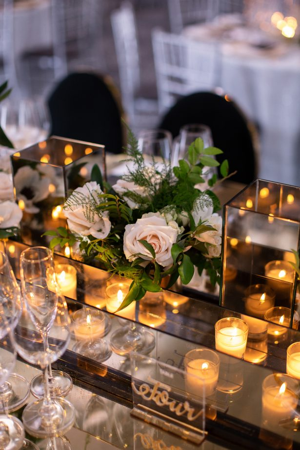 Short wedding centerpiece with white flowers- Rafal Ostrowski Photography