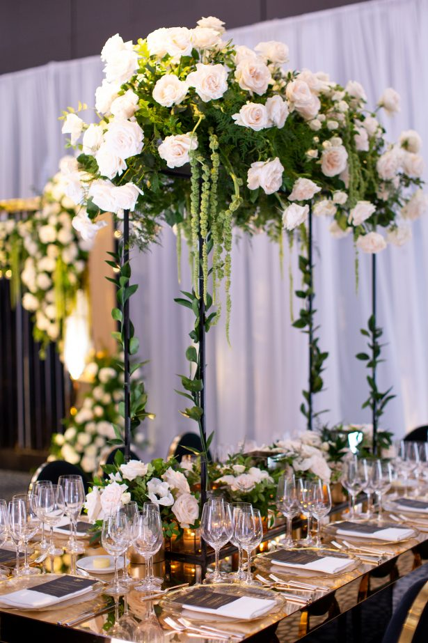 Long gold wedding tablescape - Rafal Ostrowski Photography