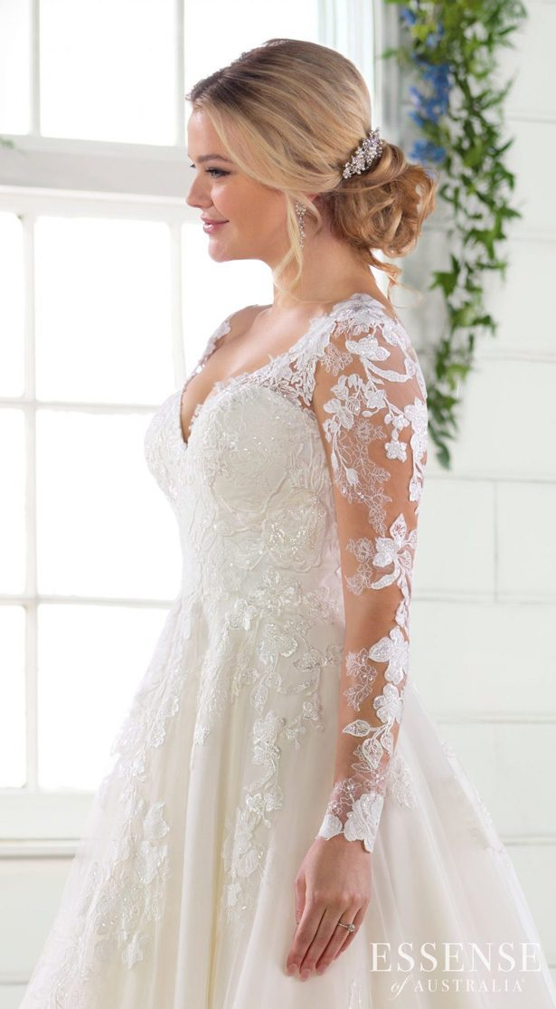 Wedding Dresses with Sleeves by Essense of Australia Fall 2019 - 2805