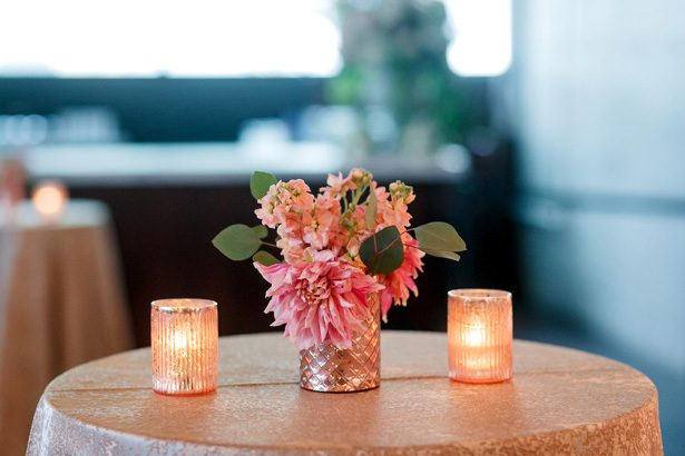 Wedding cocktail table centerpiece - Jenny DeMarco Photography
