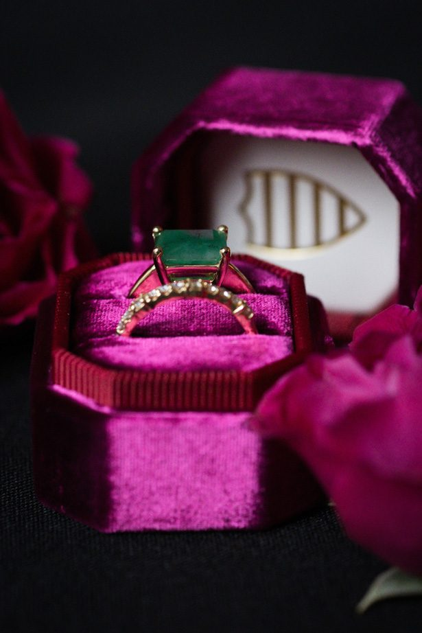 Emerald green vintage engagement ring - Leeann Marie Photography