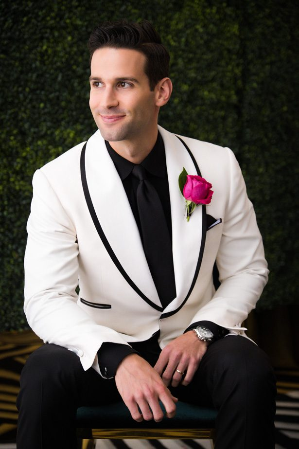 Groom with white tuxedo - Leeann Marie Photography
