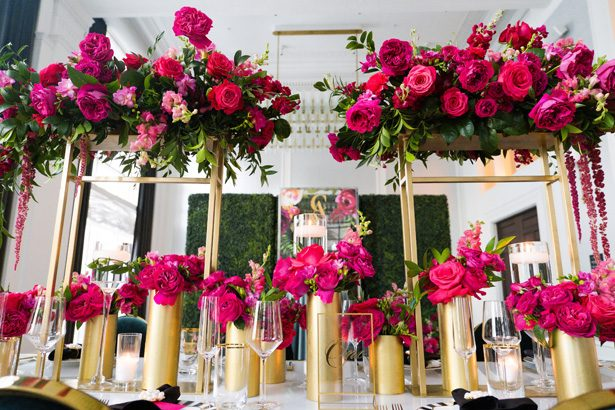 Tall pink and gold wedding centerpiece - Leeann Marie Photography