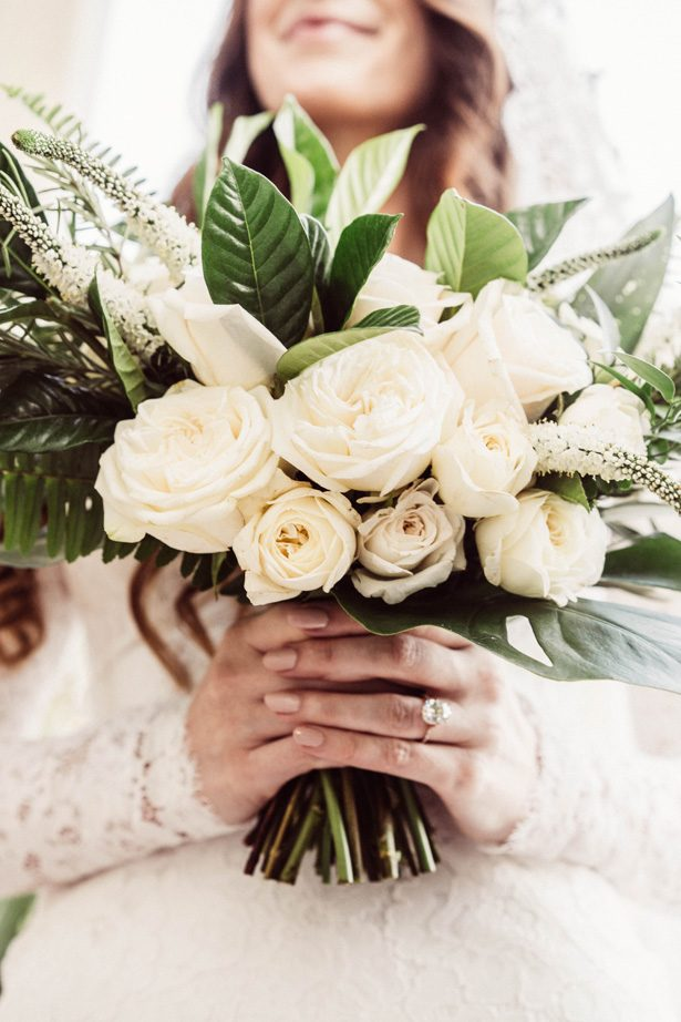 Wedding bouquet with white flowers and greenery - Robbie Ziegler Photography