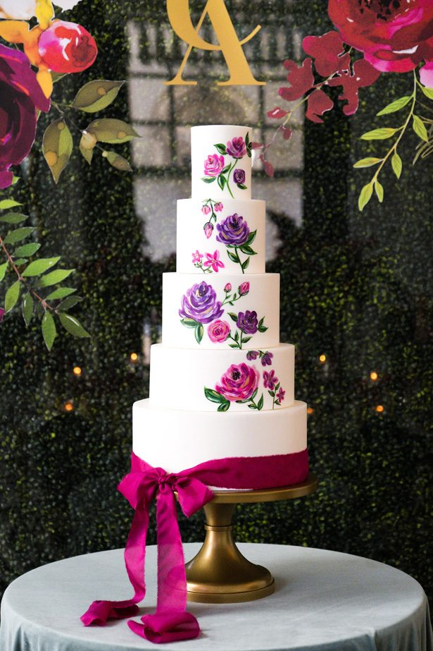 White wedding cake with hand painted roses - Leeann Marie Photography