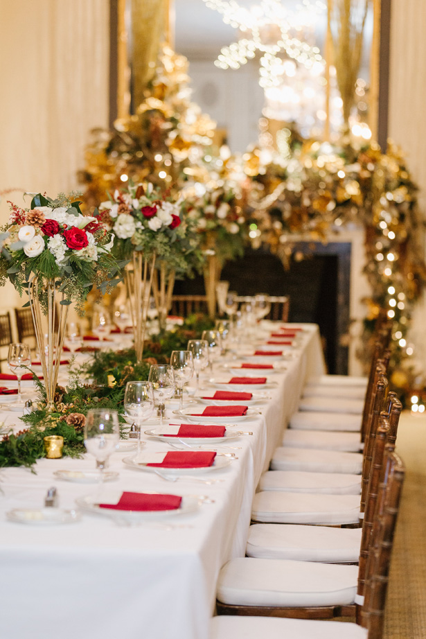 Elegant Winter Wedding Tablescape With Holiday-Inspired Details - Urban Row Photography