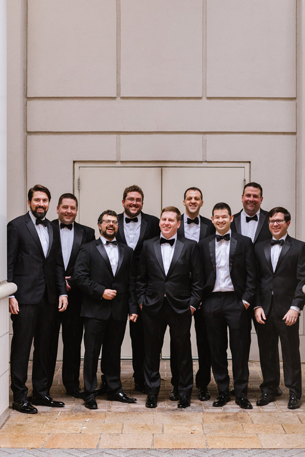 Groomsmen on black tuxes - Urban Row Photography