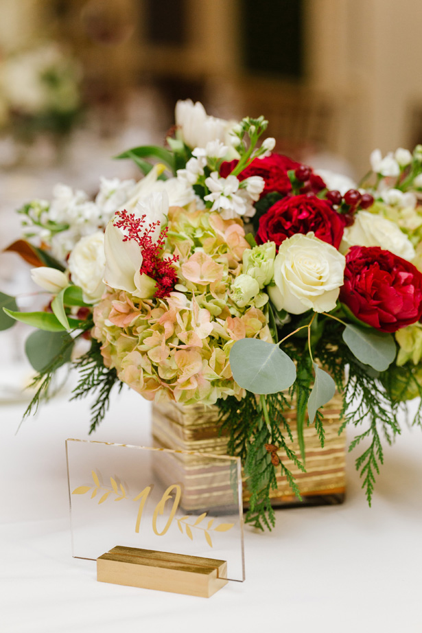Short winter wedding centerpiece and table number - Urban Row Photography