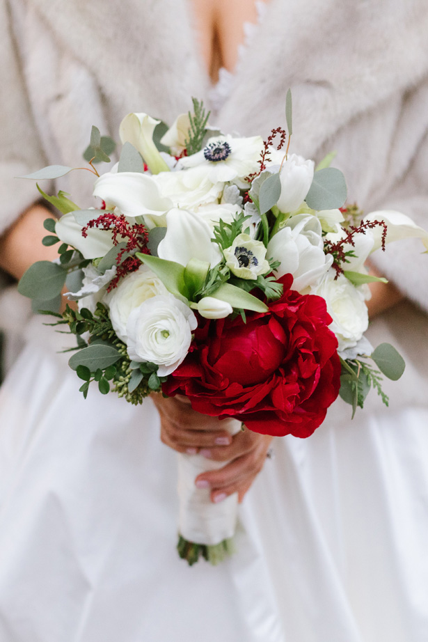 Winter Wedding bouquet with red and burgundy peony - Urban Row Photography