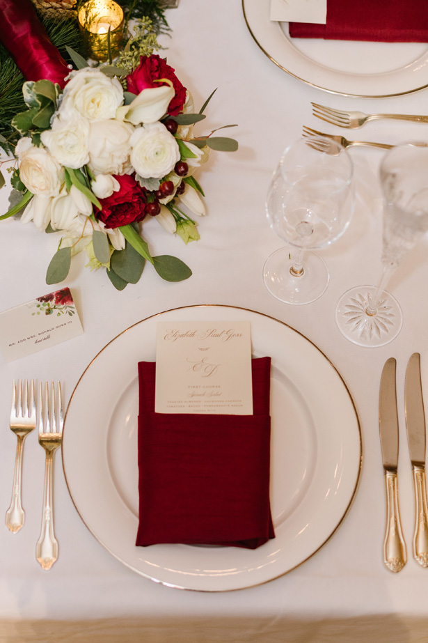 Winter wedding place setting with burgundy details - Urban Row Photography