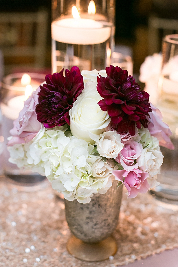 Burgundy and white reception flower decor A Glamorous Wedding with Fireworks - Rachael Hall Photography