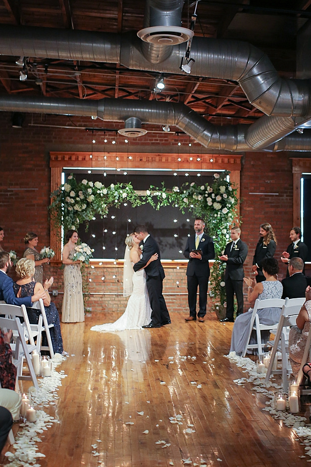 Wedding ceremony decor with greenery arch - Soul Creations Photography