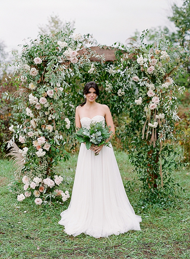Ethreal ceremony arbor decor and bride with all greenery wedding bouquet Barn Wedding - Twah Photography