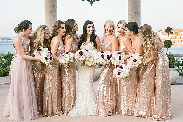 Fun bridesmaids photo with sequin rose gold bridesmaids dresses A Glamorous Wedding with Fireworks - Rachael Hall Photography