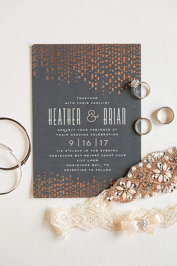 Glam wedding invitations in grey and gold A Glamorous Wedding with Fireworks - Rachael Hall Photography