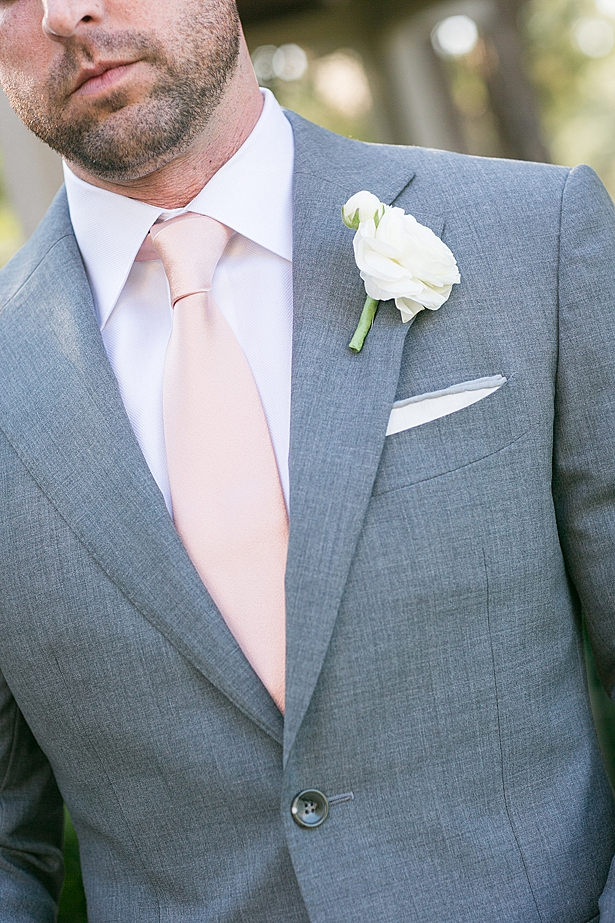 Grey grooms suit with pink tie A Glamorous Wedding with Fireworks - Rachael Hall Photography