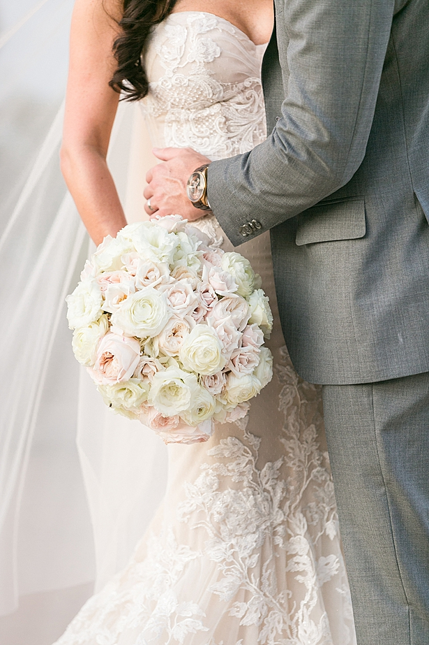 Luxurious white and blush wedding bouquet A Glamorous Wedding with Fireworks - Rachael Hall Photography